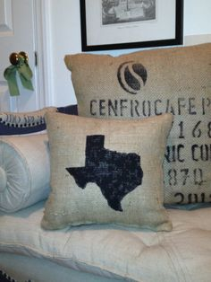 Texas Coffee Sack Throw Pillow by JusticeStreetHouse on Etsy, $20.00