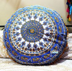 Elephant Bohemian Mandala Round Floor Pillows