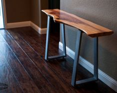 Live Edge Redwood Console Table Steel 'Milo' Legs by MezWorks