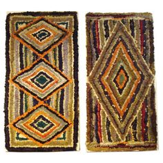 PAIR OF MOUNTED HAND HOOKED GEOMETRIC RUGS ON FRAMES