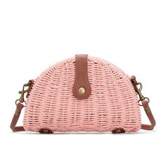 Yoins Pink Straw-woven Shoulder Bag With Flap Top ($18) ❤ liked on Polyvore featuring bags, handbags, shoulder bags, yoins, pink, purses, straw purse, pink handbags, straw shoulder bag and straw shoulder handbags