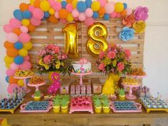 See how to organize your party 18 years with amazing themes to impress guests! 70 are inspirations to do on your day! Flamingo Birthday, 18th Birthday Party, Flamingo Party, Frozen Birthday Party, Birthday Party Decorations, Birthday Ideas, Aloha Party, Luau Party, Tropical Party