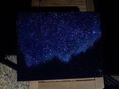 Night Sky Twinkling Stars & Mountains Landscape by GlitterBombArt, $120.00