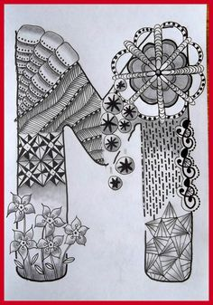 Zentangle Letter I Monogram In Tangle Doodle, Tangle Art, Zen Doodle, Doodle Art, Doodle Alphabet, Letter Symbols, Alphabet And Numbers, Letter Art, Zentangle Drawings