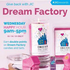Happy hump day! Make a difference and purchase a Dream Factory candle or tart. Earn 2X rewards points with every purchase until 5pm EST today. YOU can help make chronically and critically ill children's dreams come true!  #jicgivesback #dreamfactory