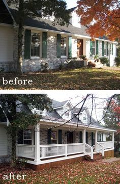 Before and After: 7 Sensational Front Porch Additions. We already have a front porch, but it's weak. Trying to gather different ideas. Houses just look better with a front porch. Renovation Facade, Farmhouse Renovation, Farmhouse Remodel, Farmhouse Plans, Café Exterior, Exterior Design, French Exterior, Bungalow Exterior, Exterior Remodel