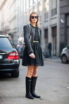 Black Lace Dress. Love the rain boots.