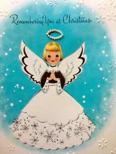 Vintage Angel Christmas Card, Pearl Halo, 1950s, Remembering You, NOS by papermoonandmore on Etsy
