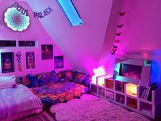 vaporwave room Want to know exactly how I made this rainbow sanctuary aka The Dream Den This eKit PDF includes ALL the info and tools you need to recreate this unique space in your own home! Cute Room Decor, Teen Room Decor, Room Ideas Bedroom, Diy Bedroom, Bedroom Inspo, Room Ideias, Neon Bedroom, Hippie Bedroom Decor, Blue Bedrooms