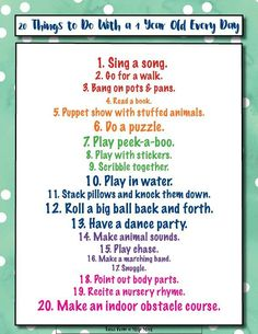 Left wondering what to do with a 1 year old all day long? This list of 20 activities for 1 year olds that you can do every day will take out the guess work! 1 year old Activities For One Year Olds, Toddler Learning Activities, Infant Activities, Work Activities, Family Activities, Babysitting Activities, Baby Learning, Learning Toys, Montessori
