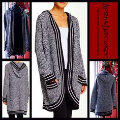 """❗️1-HOUR SALE❗️ Hooded Cardigan Cardi Jacket  NEW WITH TAGS  Retail: $138  Romeo Juliet Hooded Cardigan Long    * Relaxed & subtly oversized fit; Attached hood & front patch pockets..   * Open front, sleeves, & curved front hem.    * Super soft knit construction.   * It measures about 37"""" long.   * Contrast trim details.  Fabric: 60% cotton & 40% acrylic  Color: Black & White combo   Item:   No Trades ✅ Offers Considered*✅  *Please use the blue 'offer' button to submit an offer. Romeo…"""