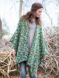 Forest Floor Poncho in Berroco Gusto. Discover more Patterns by Berroco at LoveKnitting. We stock patterns, yarn, needles and books from all of your favorite brands.