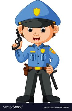 Cute policeman cartoon vector image on Community Workers, Community Helpers, Preschool Jobs, Flashcards For Kids, School Frame, School Images, Cartoon Kids, Kids Education, Kids Learning