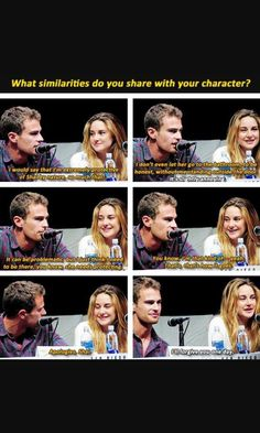 Theo James & Shailene Woodley promoting Divergent at Comic-con. They're adorable <<<< If Theo James wanted to protect me I would be totally ok with that. >> What's the problem with that? I don't see a problem with it. Divergent Memes, Divergent Hunger Games, Divergent Fandom, Divergent Trilogy, Divergent Insurgent Allegiant, Tfios, Divergent Characters, Insurgent Quotes, Theo James