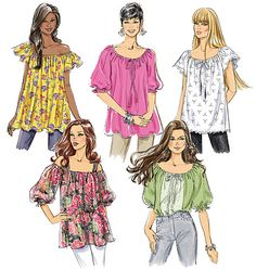 Tunic Tops Pattern Peasant Top Pattern Easy Tops by Make Your Own Clothes, Diy Clothes, Vintage Sewing Patterns, Clothing Patterns, Patron Vintage, Sewing Blouses, Tunic Pattern, Peasant Dress Patterns, Peasant Tops