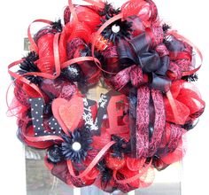 Image detail for -Valentine's Day Wreath Mesh Love Flowers by HolidaysAreSpecial