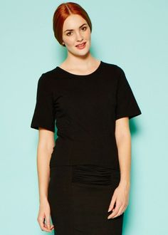 A great top to flatter your shape and a go to basic with a difference. There is a lovely ruched detail at the back on the lower centre edge. Length O Tunics, Peplum Dress, Organic Cotton, Centre, High Neck Dress, Tunic Tops, Shape, Detail, Dresses