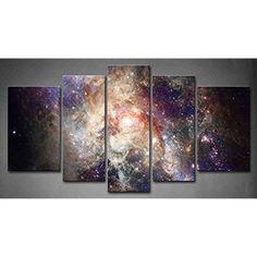 [Framed] Galaxy Universe Stars Modern Canvas Prints Picture Wall Art Home Decor #ArtDeco