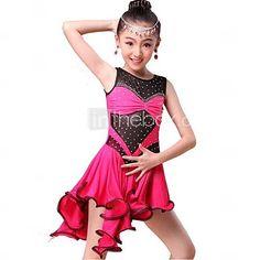 Latin Dance Dresses Children's Performance Milk Fiber Side-Draped 1 Piece Blue / Pink / Red 2016 – $49.99