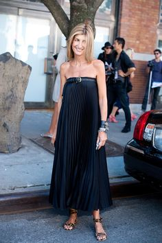 Sarah Rutson chic in a black pleated maxi w/ buckle detail & leopard flats, outside Jason Wu #StreetStyle
