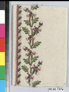 Sample Date: early 19th century Culture: French Medium: Silk and metal thread on wool Dimensions: L. 5 1/8 x W. 3 1/2 inches 13 x 8.9 cm Classification: Textiles-Embroidered Credit Line: Gift of The United Piece Dye Works, 1936