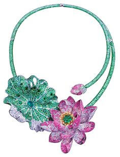 Anna Hu's 2010 Celestial Lotus necklace featuring natural Fancy Intense vivid yellow, gray and white diamonds, natural Burmese rubies, Colombian emeralds, demantoid garnets, tsavorites and multi-coloured pink sapphires, set in titanium © Anna Hu.
