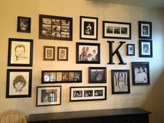 Black and white photo wall.