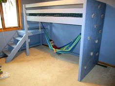 Ana White Camp Loft Bed with Rock Wall and Hammock - All About Decoration Bunk Beds Boys, Bunk Beds With Stairs, Kid Beds, Loft Beds, Trendy Bedroom, Kids Bedroom, Bedroom Ideas, Build A Murphy Bed, Loft Bed Plans