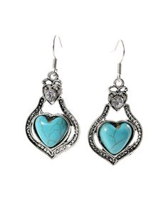 Take a look at this Turquoise & Antique Silvertone Heart Drop Earrings today!