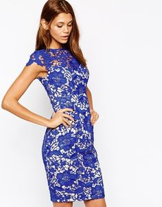 Lipsy VIP Pencil Dress in Lace Overlay. Love the colour and lace detail <3