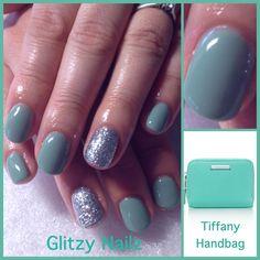 Tiffany Inspired #custom #calgel #mix Calgel Nails, New Nail Art, Nail Ideas, Hair And Nails, Tiffany, Glitter, Inspired, Crystals, Crystal