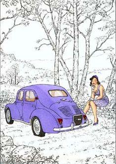 """""""La 4CV dans tous ses états""""  de Gibrat http://www.goldencreekstudio.com/collections/curiosites.htm"""