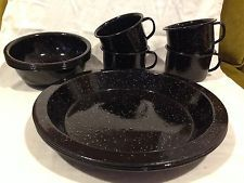 12 PIECE BLACK WHITE SPECKLED ENAMELWARE CAMPING DISHES