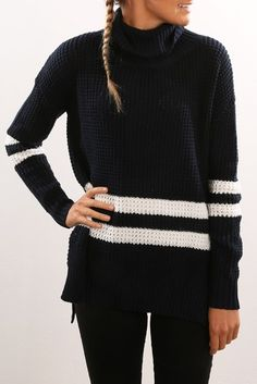 Show Us Your Stripes Knit Navy