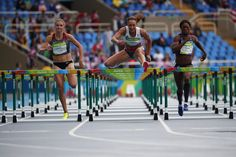 From left, Brianne Theisen Eaton, Jessica Ennis-Hill and Antoinette Nana Djimou on day one of track at the Rio Olympics.