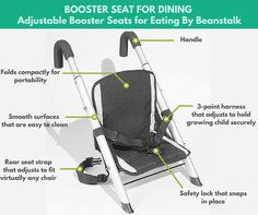 Booster Seat for Dining, Adjustable Booster Seats for Eating By Beanstalk - JDS Enterprises announced this week a new booster designed to help make any dining chair a child booster seat. Research and testing was done to make sure that this jump seatfunctions as it should and it has been proven to be an effective tool in ensuring the safety of babies 6 months to 24 months old