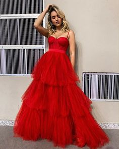 Red tulle long prom dress red evening dress 1776 - Beauty is Art A Line Prom Dresses, Tulle Prom Dress, Formal Dresses For Women, Prom Party Dresses, Evening Dresses, Dress Up, Prom Gowns, Red Corset Dress, Dress Formal