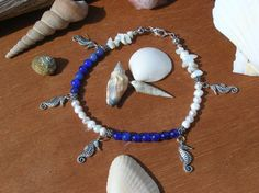 Blue Aventurine Fresh Water Pearl Sea Shell by WholisticBlessings