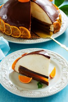 Orange-chocolate cake with white chocolate mousse.
