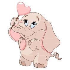CLIPART LOVE ELEPHANT | Royalty free vector design