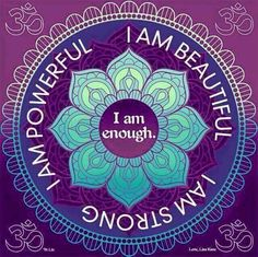 Today's affirmations: I am powerful. I am beautiful. I am strong. I am enough. Positive Thoughts, Positive Quotes, Positive Phrases, Esprit Yoga, I Am Enough, Miracle Morning, I Am Beautiful, Yoga Quotes, Namaste Quotes
