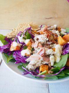 This salad is serisouly so good! We named it the Epic Merrymaker Salad because there's much extra good stuff. Chicken, sweet potato, bacon, crispy crackers.