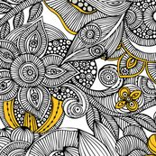 Doodles black and yellow fabric by valentinaramos for sale on Spoonflower - custom fabric, wallpaper and wall decals