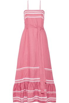 Lisa Marie Fernandez's dress will effortlessly transition from sun-soaked vacations to balmy days in the city. Made from airy linen, this pink design is decorated with tonal rickrack trims and falls to a softly ruffled hem. Use the waist tie to cinch the loose silhouette.