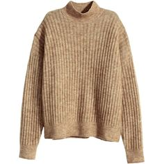 H&M Jumper in a mohair blend (€47) ❤ liked on Polyvore featuring tops, sweaters, shirts, jumpers, beige marl, long sleeve shirts, ribbed turtleneck, long-sleeve shirt, brown shirt and turtleneck shirt