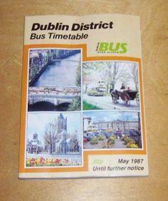 CIE DUBLIN AMCHLAR CHEANTAR ATHA CLIATH.DISTRICT BUS & TRAIN TIMETABLE MAY 1987 Train Timetable, Bus Coach, Dublin, Books, Cards, Libros, Book, Maps, Book Illustrations