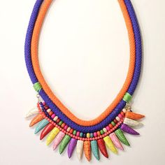 Bold jewelry pieces are still very much on trend, but you don't have to go broke trying to stay in style. Make your own statement necklace with this DIY technique that combines woven cord and bright, colorful beads.