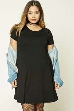 Forever 21+ - A knit swing dress featuring a round neckline and short raglan sleeves.
