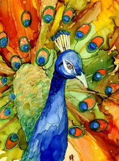 Print of Original Alcohol Ink Painting  - Peacock-Orange and Blue- Alcohol Ink