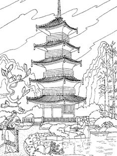 Free coloring page coloring-adult-chinese-temple. A chinese temple
